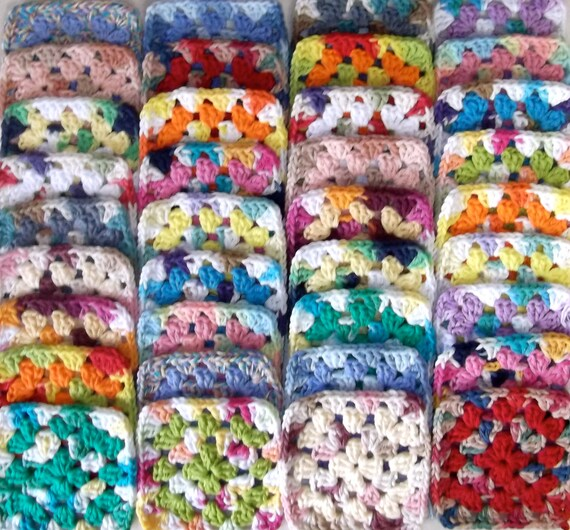 Make Your Own Afghan With 36 Handmade Mixed Colors Cotton Yarn Granny Squares Lot C-7