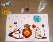 Laminated Owl With Flowers Placemat