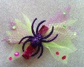 Purle Glitter Spider Hair Clip Tulle Psychobilly