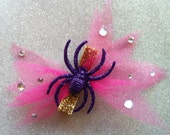 Purple Glitter Spider Hair Clip Pink Tulle and Crystals Psychobilly