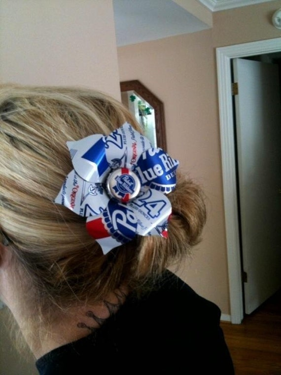 PBR PABST BLUE Ribbon beer can tin flower hair clip Rockabilly PinUp