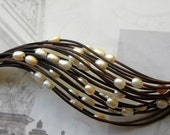 Leather, Pearls and Sterling Silver Bracelet Peaches and Cream SALE