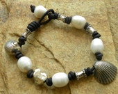 Artisan Sterling Silver Heart,Shells, Genuine South Sea Pearls and Leather Bracelet - Treasure of the Sea