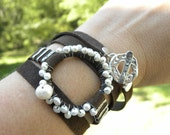 Sterling Silver, Leather and Pearls Wrap Bracelet