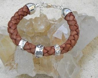 Sterling Silver Leather Bracelet - True Love