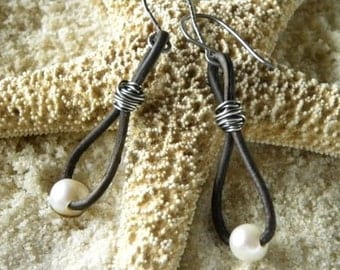 Leather and Pearls Sterling Silver Earrings