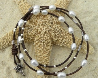 Leather, Pearls and Sterling Silver Wrap Bracelet/ Necklace
