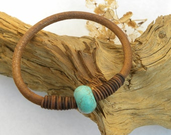 Leather and Turquoise Urban Bangle