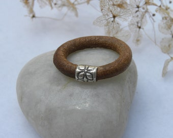 Sterling Silver Leather Ring Urban Modern