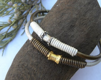 Sterling Silver Gold Plated Bead and Leather Bangle Holiday Metallic Leather Gold Pearl  - set of two