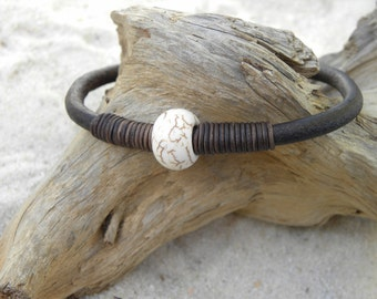 Leather and  White Turquoise Urban Bangle