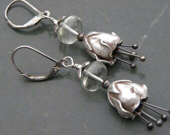 Sterling Silver and Prasiolite Flower Bell Earrings Green Amethyst