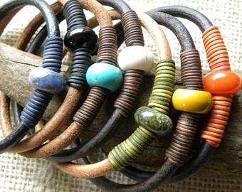 Leather and Gemstone Bangle Stacking Bracelets