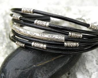 Sterling Silver and Black Leather Bracelet Multiple Strands