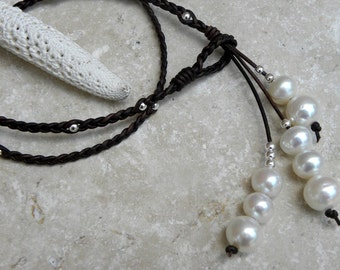Pearls Sterling Silver and Braided Leather Necklace Lariat