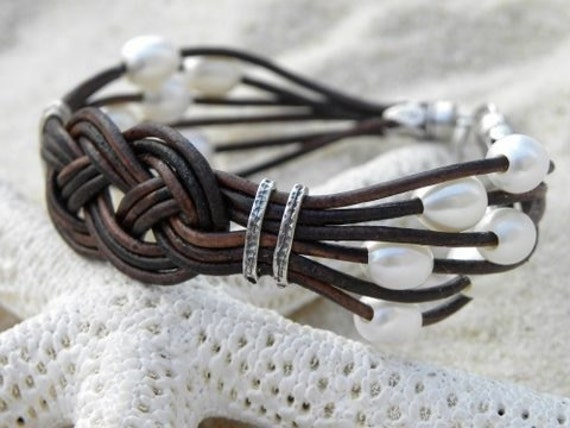 Pearl Leather Sterling Silver Bracelet Nautical Beach Summer