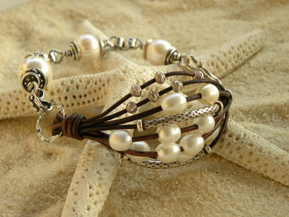 Artisan Silver, Pearls and Leather Bracelet