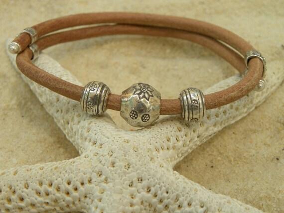 Adjustable Leather and Sterling Silver Bracelet - Unisex