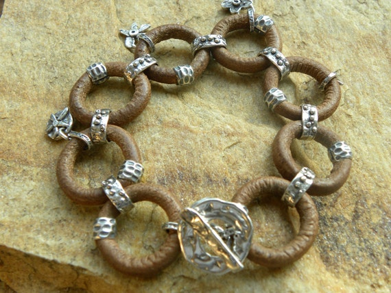 Artisan Sterling Silver and Leather Chain Bracelet