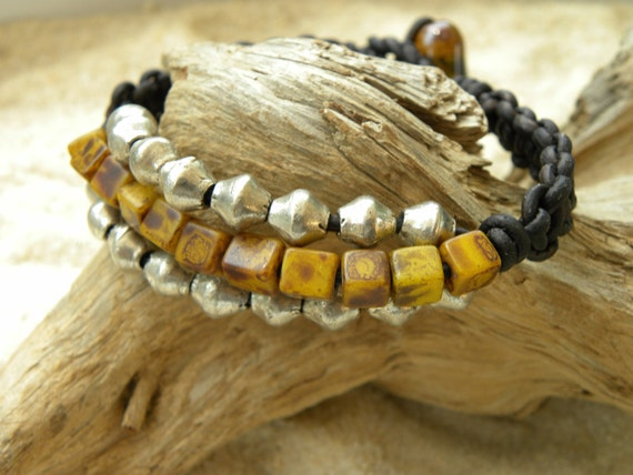 Rare Old African Beads and Silver Leather Bracelet