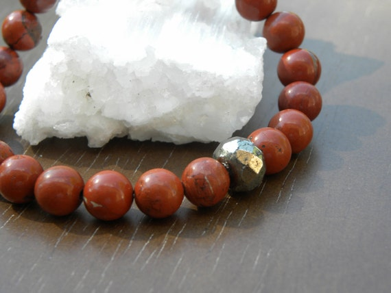 Red Jasper  and Golden Pyrite Bracelet Stretch Elastic Beaded Stacking