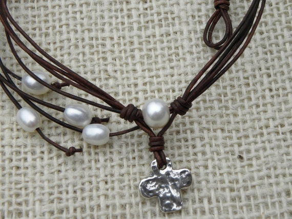 Handcrafted Sterling Silver Cross, Pearl Cluster Leather Necklace