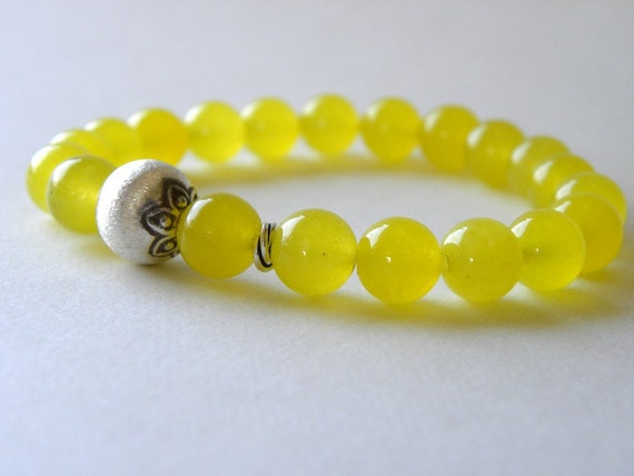 Lemon Yellow Agate and Brushed Sterling Silver Beaded Bracelet Stretch Elastic Stacking