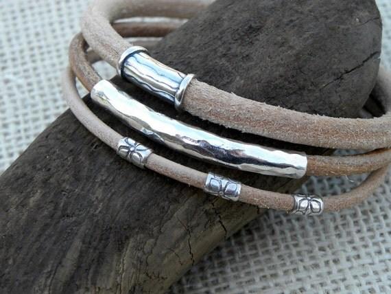 Urban Bangle Bracelet Leather and Sterling Silver - Set of 3