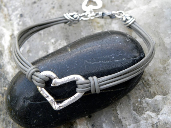 Artisan Sterling Silver Heart Gray Leather Bracelet Multiple Strands