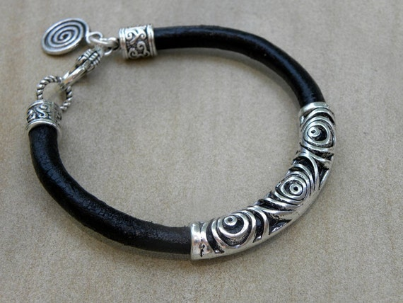 Leather and Silver  Bracelet Unisex