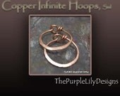 Copper Infinite Hoops,18g, Sml, Handforged by ThePurpleLilyDesigns