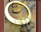 Circle of Stones, Shell, Picasso Jasper, and antiqued Copper pendant, ThePurpleLilyDesigns