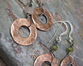 Stonewashed, Antiqued Copper, Gemstone, and Silver, Earrings, ThePurpleLilyDesigns