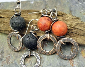 Lava or Coral Wish, Lava Rock or Sponge Coral, antiqued Copper, and Silver earrings, ThePurpleLilyDesigns