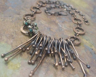 Woodland Moss, Antiqued Copper, Green Onyx, Citrine, and Peridot Necklace, ThePurpleLilyDesigns