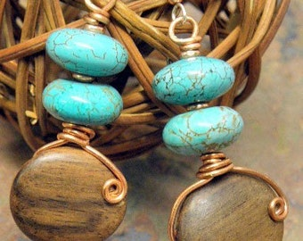 Natural Tone, Wood, Turquoise, and Copper earrings, ThePurpleLilyDesigns