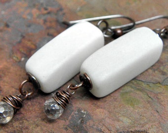 White Light earrings, antiqued Copper, Sterling Silver filled, CZ, and Snow Quartz, ThePurpleLilyDesigns