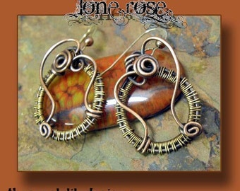 Lone Rose, Antiqued Copper and Brass earrings, ThePurpleLilyDesigns