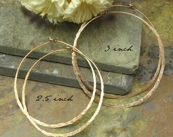 Copper Infinite Hoops,18g, 3 inch, Handforged by ThePurpleLilyDesigns