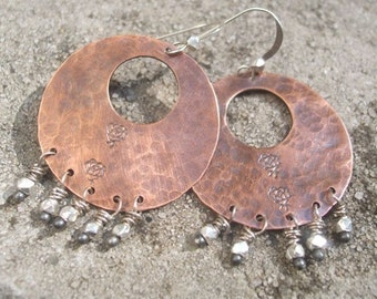 Subtle Rose Hoop Earrings, Copper and Silver, ThePurpleLilyDesigns