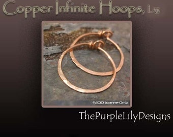 Copper Infinite Hoops,18g, Lrg., Handforged by ThePurpleLilyDesigns