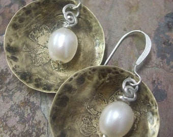 Pearl Go-To earrings, Antiqued Brass, Silver, and Freshwater Pearls, ThePurpleLilyDesigns