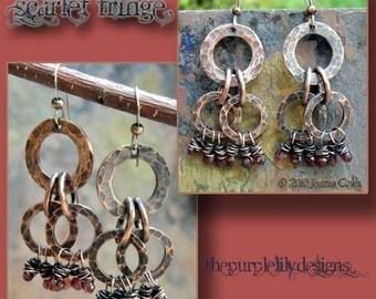 Scarlet Fringe, Antiqued Copper and Garnets earrings, ThePurpleLilyDesigns