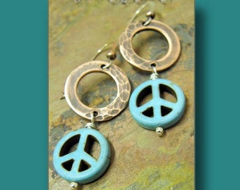Have Peace, Antiqued Copper and Turquoise earrings, ThePurpleLilyDesigns