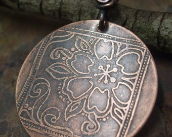 Good Luck Flowers Pendant, Antiqued and Etched Copper, ThePurpleLilyDesigns