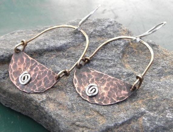 Swirl, Tri Color Swing Earrings, Copper, Brass, and Silver, ThePurpleLilyDesigns