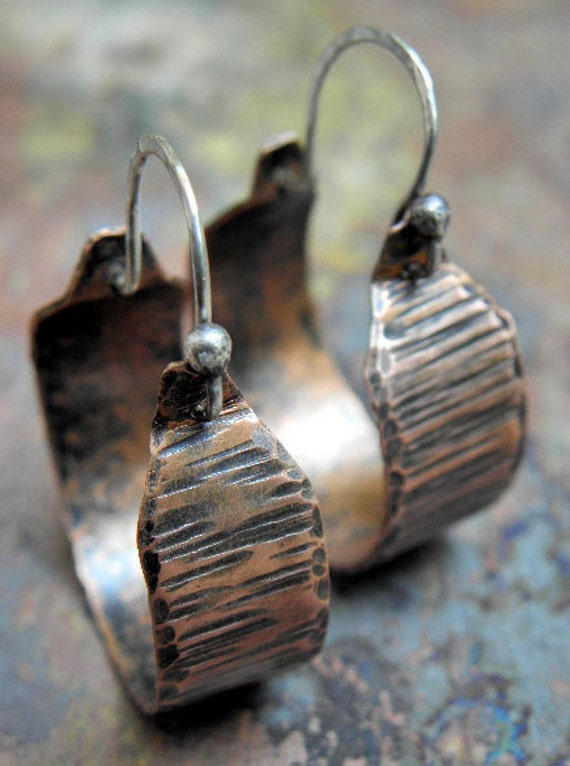 Copper Hoops, Distressed Wood, with Sterling Silver earwires, ThePurpleLilyDesigns