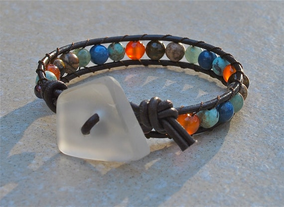 Chan Luu Style Leather Beaded Wrap Bracelet With Recycled Beach Glass - White
