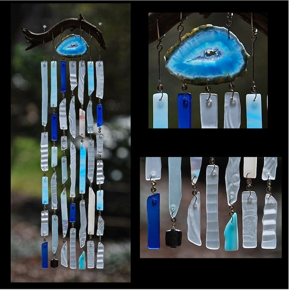 Recycled Beach Glass Inspired Wind Chimes - Crystal Blue Persuasion