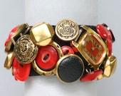 Red Watch Button Bracelet